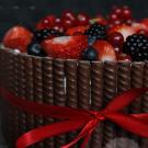Chocolade en rood fruit taart